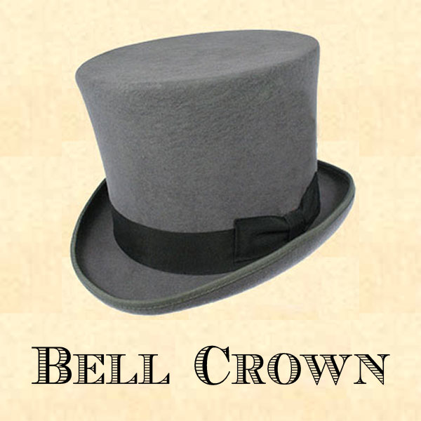 875565db3fa952 Men's Hat - Grey Bell Crown Top Hat with 6