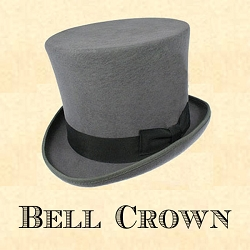 Men's Hat - Grey Bell Crown Top Hat with 6