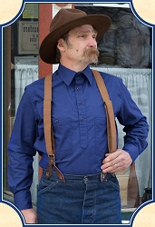 Shirt - Solid Navy Cotton Drover Cowboy Shirt Heirloom Brand
