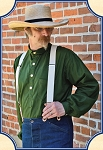 Shirt - Frontier Old West Shirt - Green Solid Cotton - Heirloom Brand