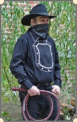 Z-Sold Old Western cowboy Bib Shield Front Black Cotton Cavalry shirt