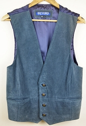 Blue Suede Leather Vest - Large