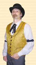 Vest - Riverboat Gambler's Vest in Gold Thistle Brocade Heirloom Brand