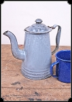 z Sold Coffee Pot - Small Vintage Gray Enamel