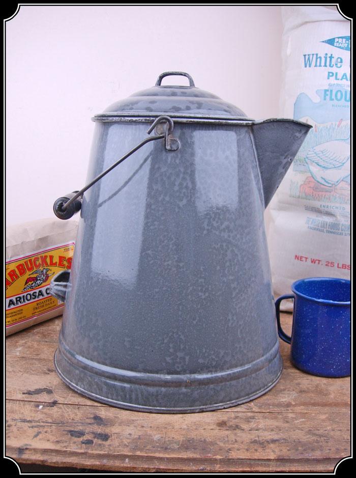 Large Chuckwagon Enamel Coffee Pot