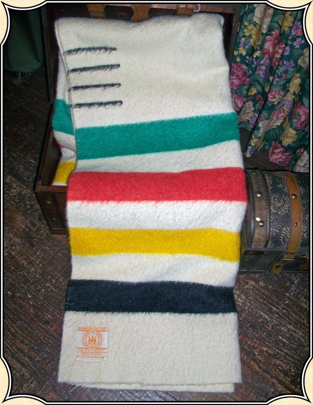 Vintage Wool 4 Point Hudson Bay Blanket Striped