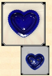 z-Sold Curio - Blue Cobalt Heart Shaped Ring Holder