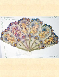 Elegant Victorian Greeting Card or Personal Fan ~ Cherubs