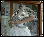 z-Sold Ladies Hat - Champagne Satin, with Ribbon and Feathers