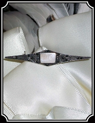 Jewelry - Mother-of-Pearl Marcasite in Sterling Silver Brooch