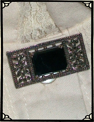 Jewelry - Onyx Gem and Marcasite Crystals on Sterling Silver Brooch