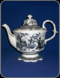 z-Sold Tea Pot - Porcelain Victorian Style with Black Motif
