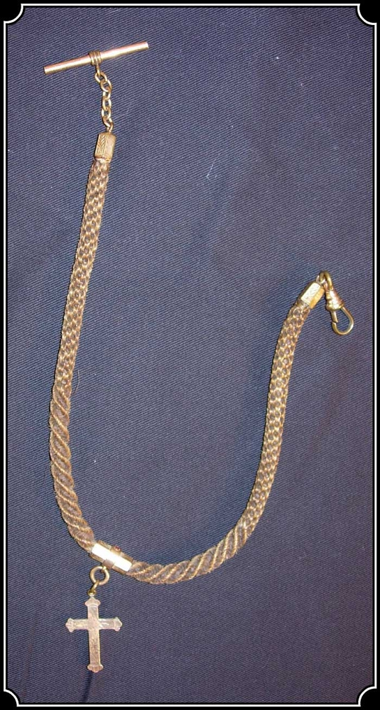 Z Sold Antique Braided Hair Watch Chain With Cross