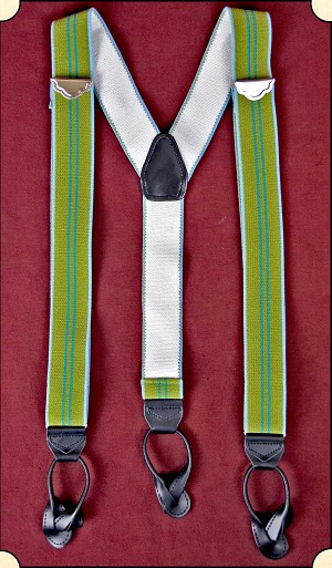 Suspenders - Y-Back Old-timer Green Stripe Suspenders