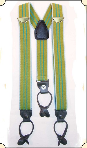 Old Time Police Brace Green Stripe Y Back  Suspenders