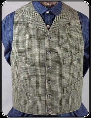 z-Sold Last of Fabric ~ Victorian Round Lapeled Vest -Wool - Heirloom Brand