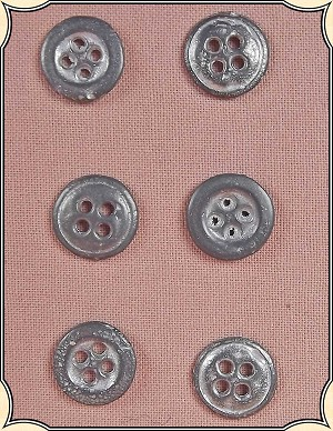 Buttons ~ 4 Hole Cast Pewter Buttons Pack of 6