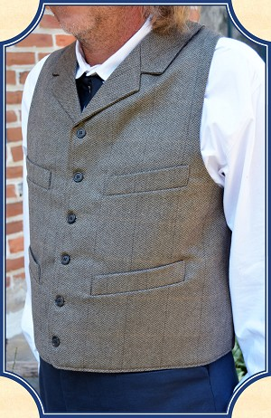 Vest - Brown Herringbone in Dress Wool Notched Lapel Vest Heirloom Brand