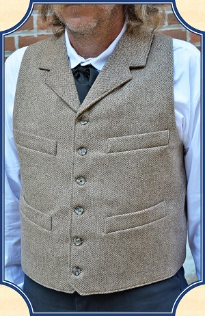 Vest - Heirloom Brand Notch Lapel Brown Herringbone Worsted Wool