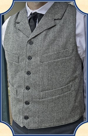Vest - Heirloom Brand Black Herringbone Worsted Wool Notched Lapel