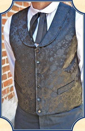 Vest - Black Brocade Riverboat Gambler's Vest by Heirloom Brand