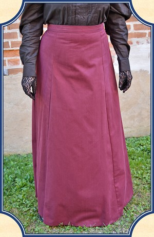 Skirt - Cotton Twill Burgundy Victorian Inspired Skirt- Heirloom Brand