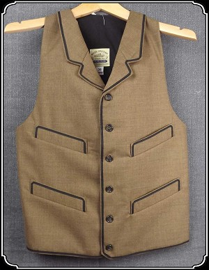 z-Sold Notched Lapeled Vest - Lt Brown Dress Wool - Size 38 Only - Heirloom Brand