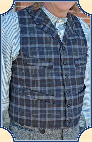 Vest - Blue and Grey Plaid Worsted Wool Old West Vest Heirloom Brand