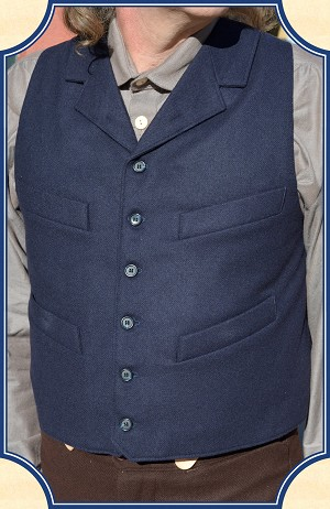 Vest - Navy Worsted Wool Cowboy Vest - Heirloom Brand