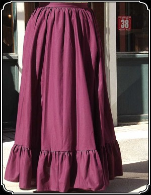 Skirt - Wine Cotton Frontier Skirt Heirloom Brand