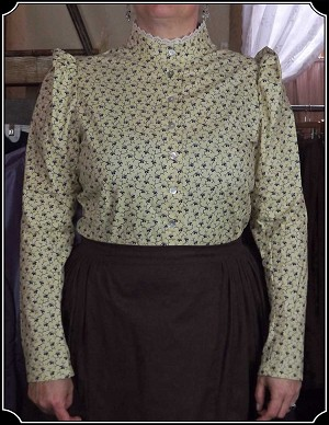 Blouse ~ Tan Cotton with a Navy Ivy Print Heirloom Brand