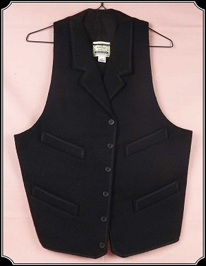 Vest - Heirloom Brand Notch Lapel Black Worsted Wool Vest in Size 42
