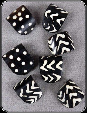 Beads - Bone Beads in Cheveron or Polka dots