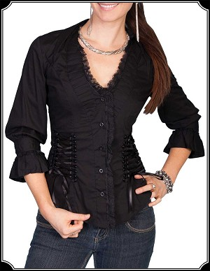 Victorian Inspired Ladies Ruffle Blouse ~ Scully