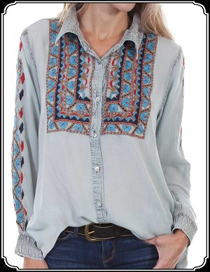 Ladies Light Weight Button Up Shirt Scully