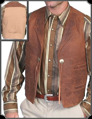 Leather Vest With Star Conchos From Scully