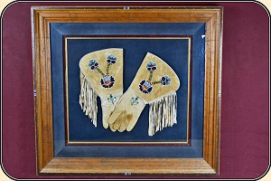 (Make Offer) Framed Beaded Buckskin brain tanned Gauntlet Gloves