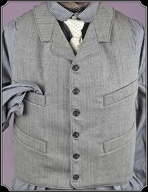 z-Sold Black and White Herringbone Worsted Wool Notch Lapel Vest Heirloom Brand