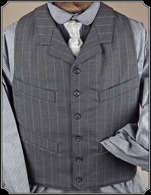 Grey Pin Stripe Dress Wool Notch Lapel Vest Heirloom Brand