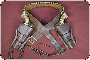 "z Sold  Rare Herman H. Heiser Double gun holster rig for a pair of 5 1/2"" or 4 3/4"" inch Colt SAA"
