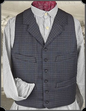 Vest - Blue Check Heirloom Brand Worsted Wool
