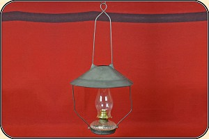 Lamp - Hanging Tin Shaded Saloon Lamp -Oil