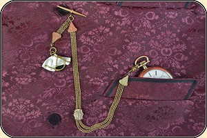 z Sold LOOK, Killer Antique Watch Chain Mother of Pearl Fob
