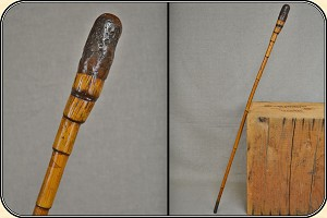 (Make Offer) Antique Bamboo walkingstick cane.