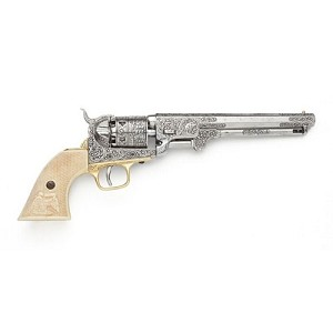 Non- firing pistol - 1851 Navy Pistol Engraved Silver Finish