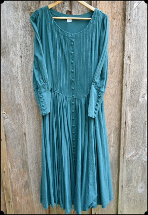 Cotton Day Dress - in Forest Green Size Small Only