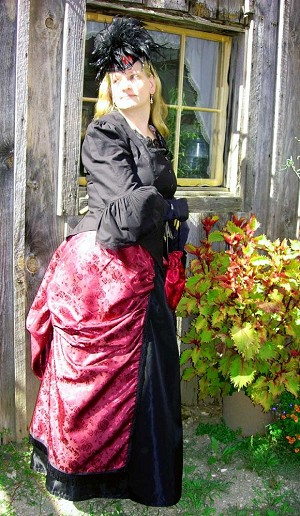 Skirt - Elegant 1870s - 1880s Split Pannier Overskirt - Brocade - Heirloom Brand