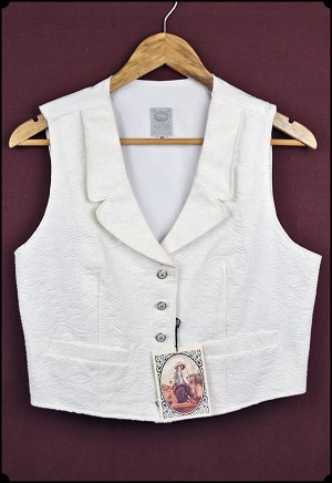 Wah Maker - Ladies White Brocade Vest - Size Medium