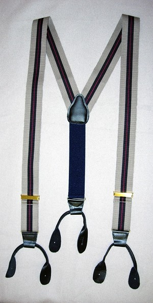 Suspenders - Gray With Black Striped Cotton Webbing Suspenders