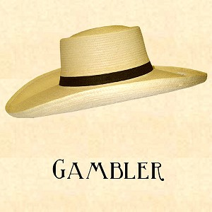 "Men's Hat - Straw Gambler Hat - 5"" Brim"